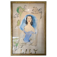 Original Marcel Vertes Large-Scale Gouache of Lily Pons