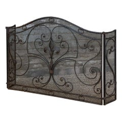Antique French Wrought Iron Folding Fire Screen