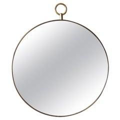 Italian Designer, Modernist Mirror, Brass, Mirror Glass, Italy, 1950s