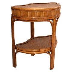 Chinoiserie Bamboo & Rattan Handmade Two-Tier Side, End Table Asian Modern 70s