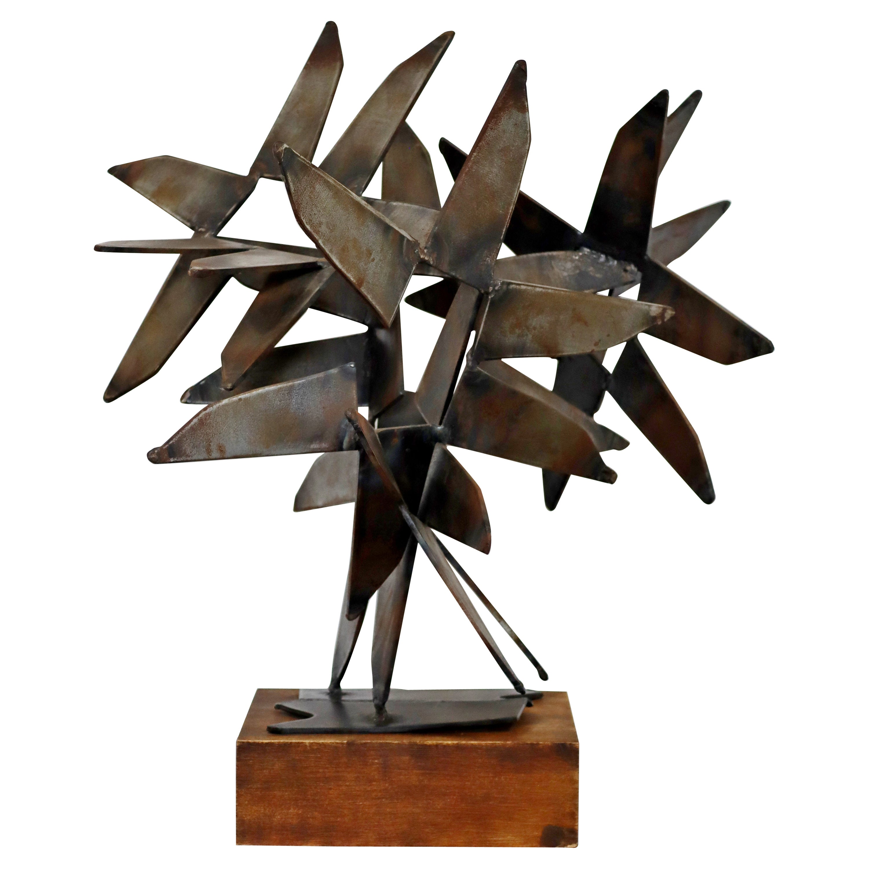 Mid-Century Modern Brutalist Bronze Flower Table Sculpture by Irving Berg, 1970s