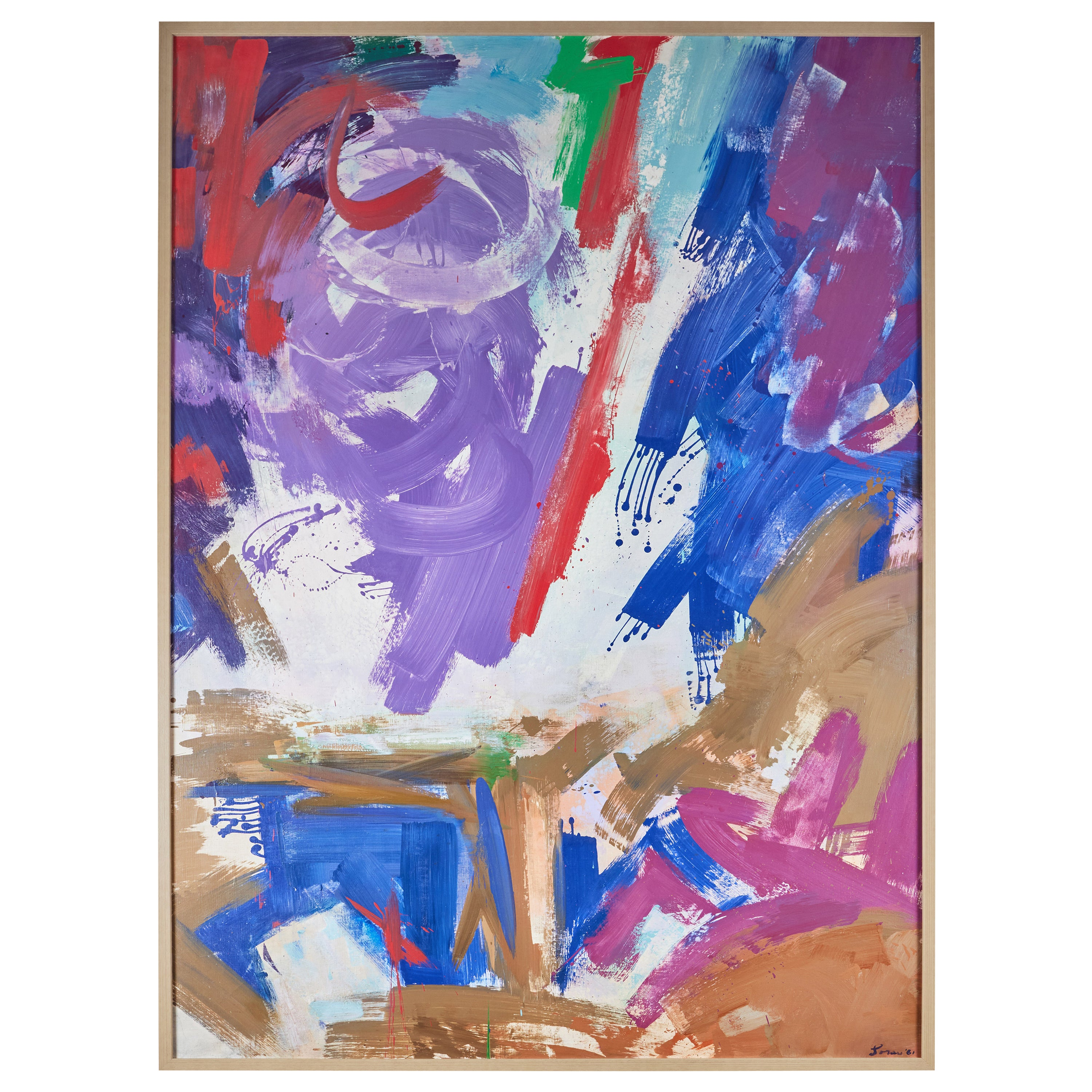 Large, Signed, 1961 Abstract Painting