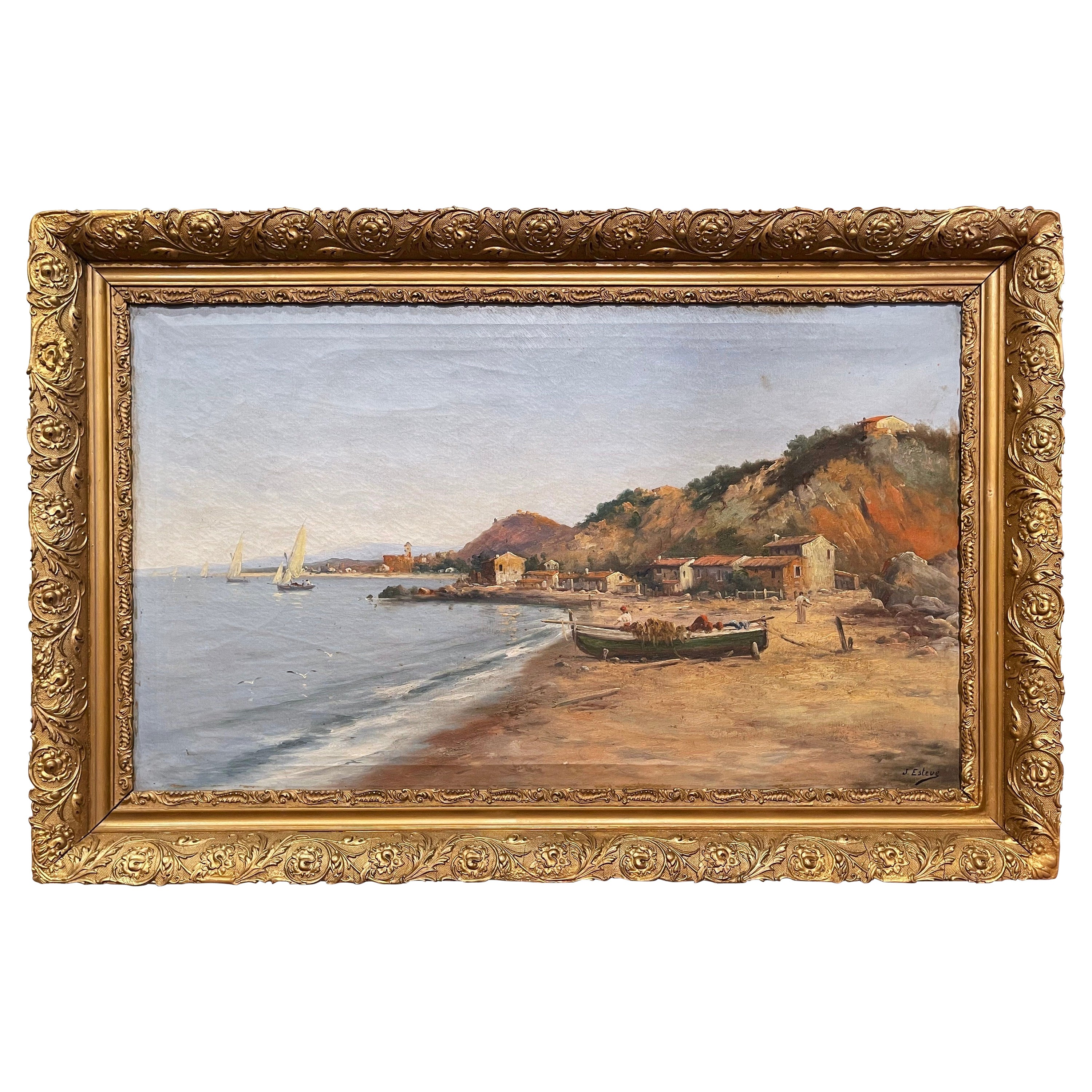 19th Century French Oil on Canvas Sea-Coat Painting in Gilt Frame Signed Esteve