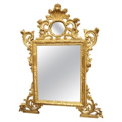 Richly Carved Antique Venetian Giltwood Mirror, Circa 1850