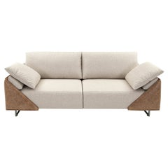 Gondole Four-Seat Contemporary Sofa in Fabric/Leather Combination