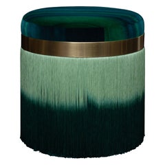 Contemporary Variegated Velvet Ottoman with Brass Trim and Fringe