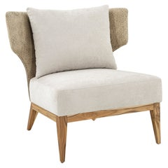 Busto Silver Leather Curved Back and Fabric Seat Armchair with Teak-Framed Base