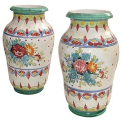Marked Italy Pottery Hand Painted Ceramic Vases Mint Green Pottery Deruta, Two