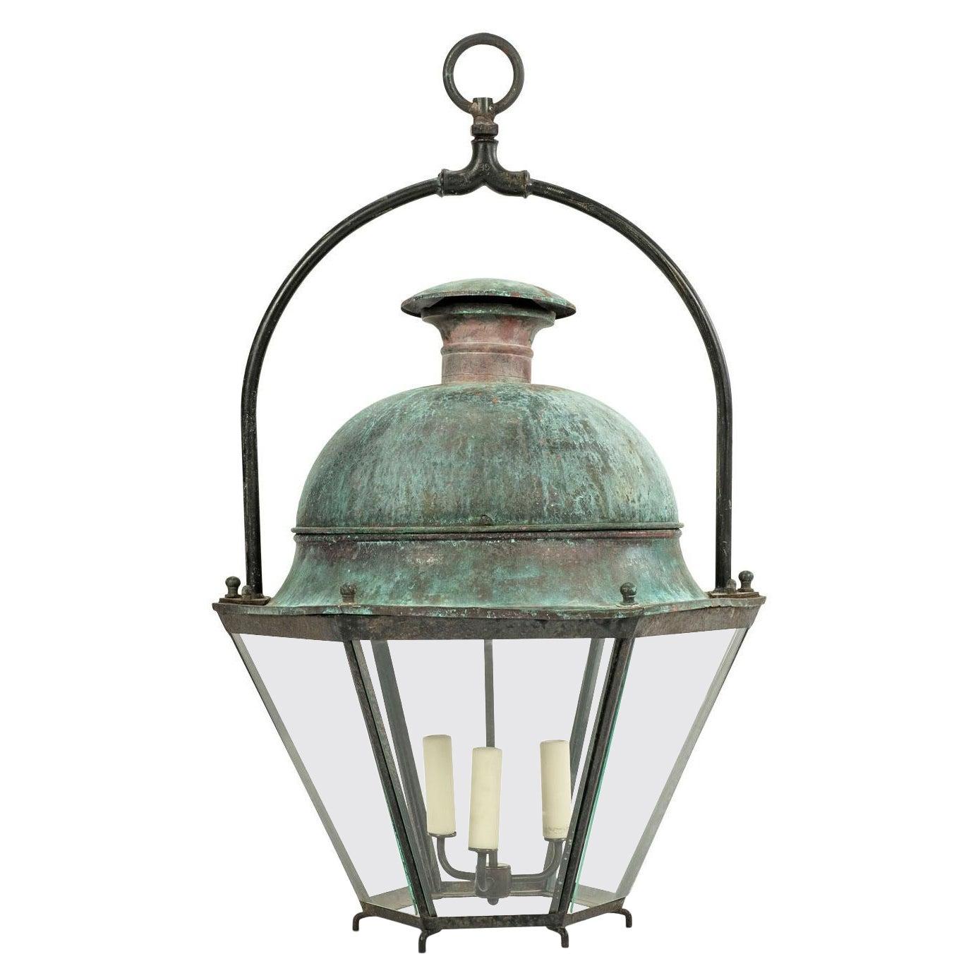 Large French Hexagonal Green-Verdigris Copper Lantern