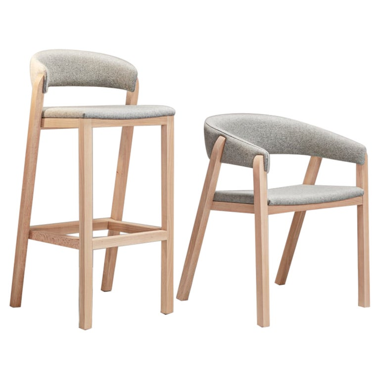 Set of Gray Oslo Stool & Chair by Pepe Albargues For Sale