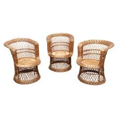 Tito Agnoli 'Attr' Woven Rattan Mini Peacock Lounge Chairs