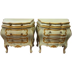 Pair of Italian Venetian Blue Bombe Commodes/ Nightstands/ End Tables