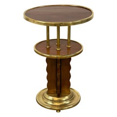 Viennese Secession Brass Mounted Mahogany Side Table, Austria C. 1920