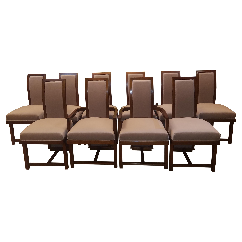 Frank Lloyd Wright Dining Chairs Set of Ten Taliesin for Heritage Henredon, 1955