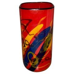 Large Vintage Red Art Glass Vase, Ioan Nemtoi