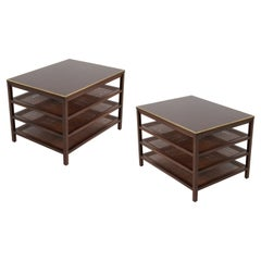 Pair of Paul McCobb 3 Tiered End Tables in Mahogany with Cane and Brass Edge