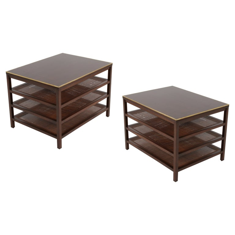 Pair of Paul McCobb 3 Tiered End Tables in Mahogany with Cane and Brass Edge For Sale