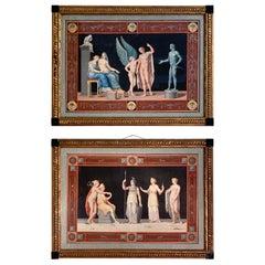 High Quality Pair Michelangelo Maestri  Style Gouaches Circa 1812