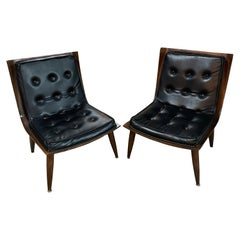 Carter Brothers Pair of Bent Plywood and Upholstered Lounge Chairs Mid Century