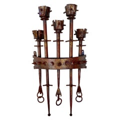 Brutalist Wrought Iron Spanish Wall Sconce in Gilt and Red Lacquer