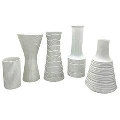 Set of Five German Vintage Textured White Bisque Porcelain Vases