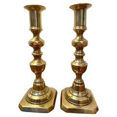 Pair of Antique Victorian Brass Candlesticks