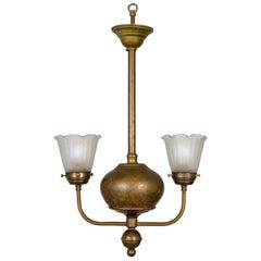 Streamlined Victorian 2-Arm Brass Ball Pendant Chandelier
