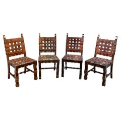 Hermanos Soto 4 Woven Strap Saddle Leather Chairs Rustic Mahogany Mexico, 1950s