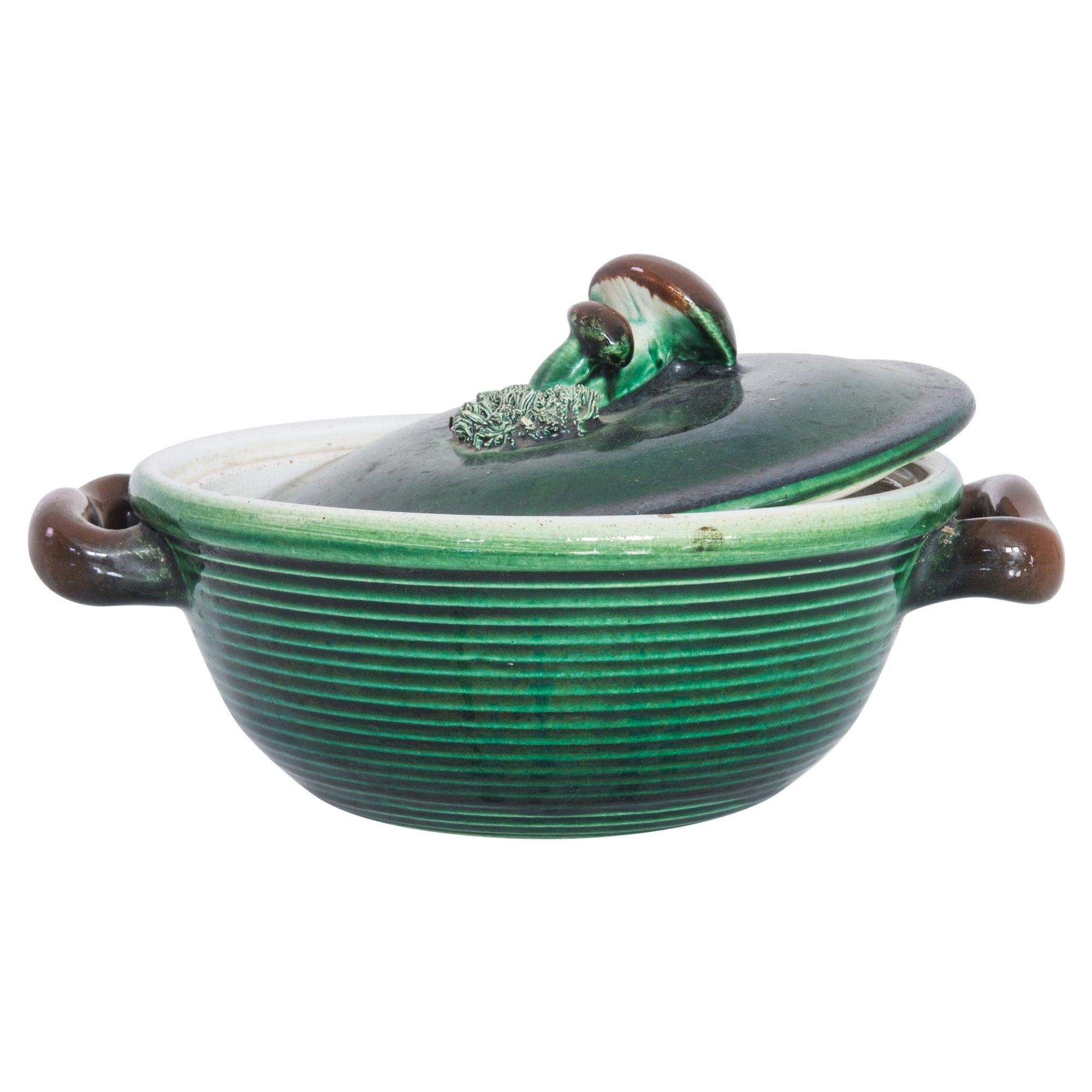 1930s Belgian Ceramic Bowl with Lid