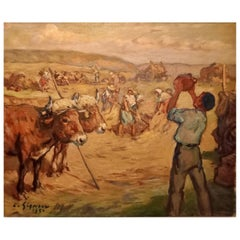 """Ludovico Gignoux """" Work in the Field """" Signed Early 20th Century"""