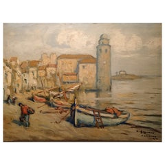 """Ludovico Gignoux """" Beach """" Signed Early 20th Century"""