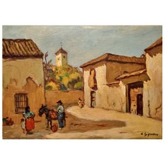"""Ludovico Gignoux """" in the Square """" Signed Early 20th Century"""