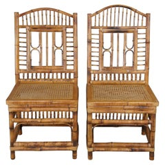 20th Century Victorian Revival Bamboo Caned Side Chairs Chinese Chippendale