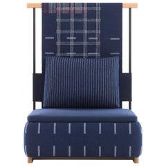 GAN Spaces Lan Small Module with Backrest in Oak Wood Frame & Steel by Neri&Hu