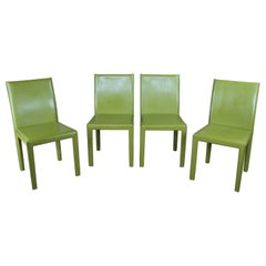 4 Vintage Maria Yee Green Leather Modern Side Dining Chairs Minimalist MCM