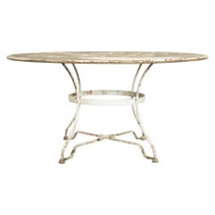 1920s French White Patinated Metal Table