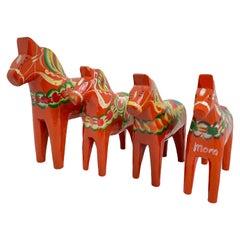 Collection of Four Vintage Swedish Dala Horses by Nils Olsson, Sweden Folk Art