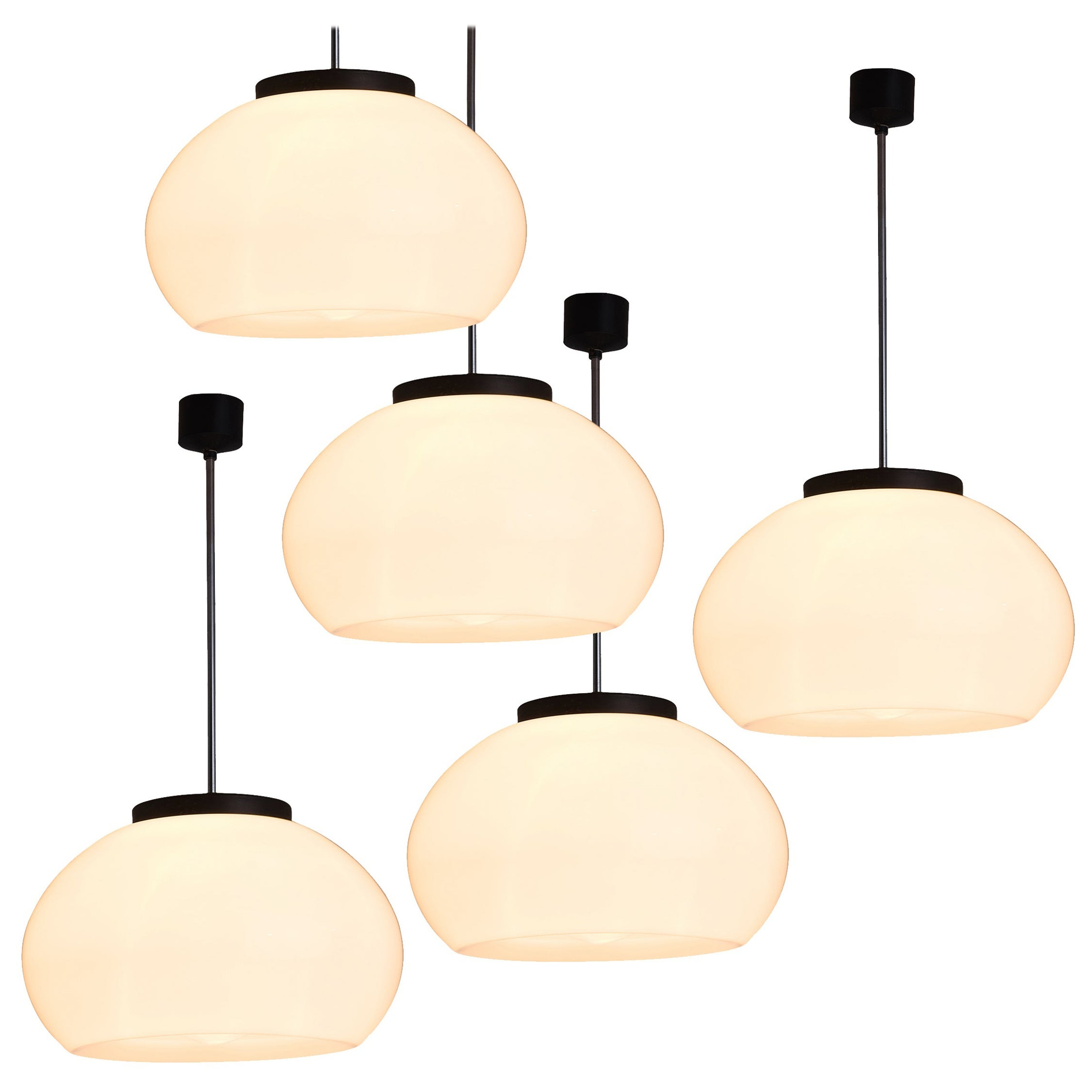 Opaline Pendants in Glass and Chrome