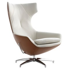 Caruzzo Lounge Chair by Leolux Upholstered in Two-Tone Leather