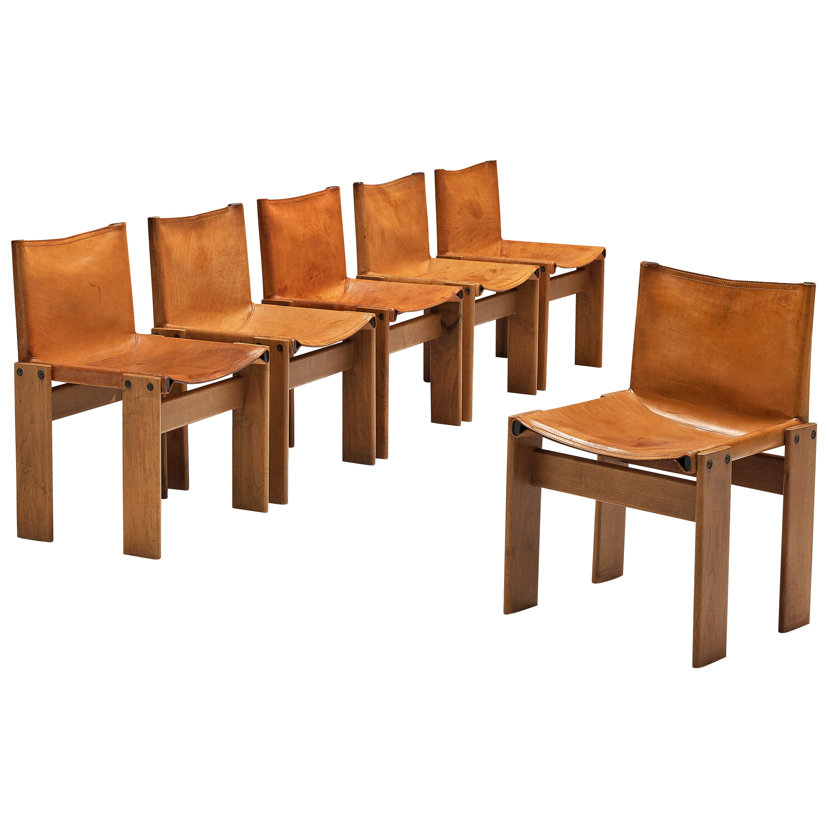 Tobia & Afra Scarpa for Molteni Set of 6 'Monk' Chairs in Cognac Leather