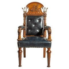 Large and Imposing Regency Nautical Chair Made for the Alliance Assurance Comp