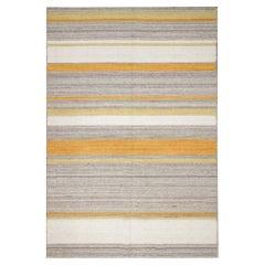 Kilim Area Rug Modern Striped Kilim Rug, Yellow Grey Carpet Rug- 123x177cm