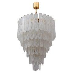 Venini Style 6 Floors Chandelier Murano Glass Graniglia and Brass, 1970s