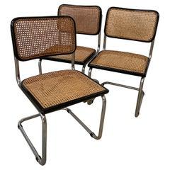 Mid-Century Modern Italian Set of Chrome and Black Cesca Chair by Marcel Breuer