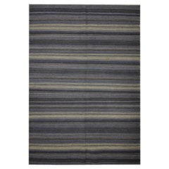 Blue Striped Rug Kilim Area Rug Handwoven Modern Carpet Wool Rug- 122x183cm