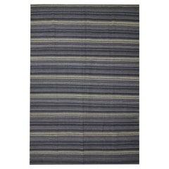 Modern Kilim Rug Blue Wool Carpet Striped Rug Kilim Flat-Woven Area Rug