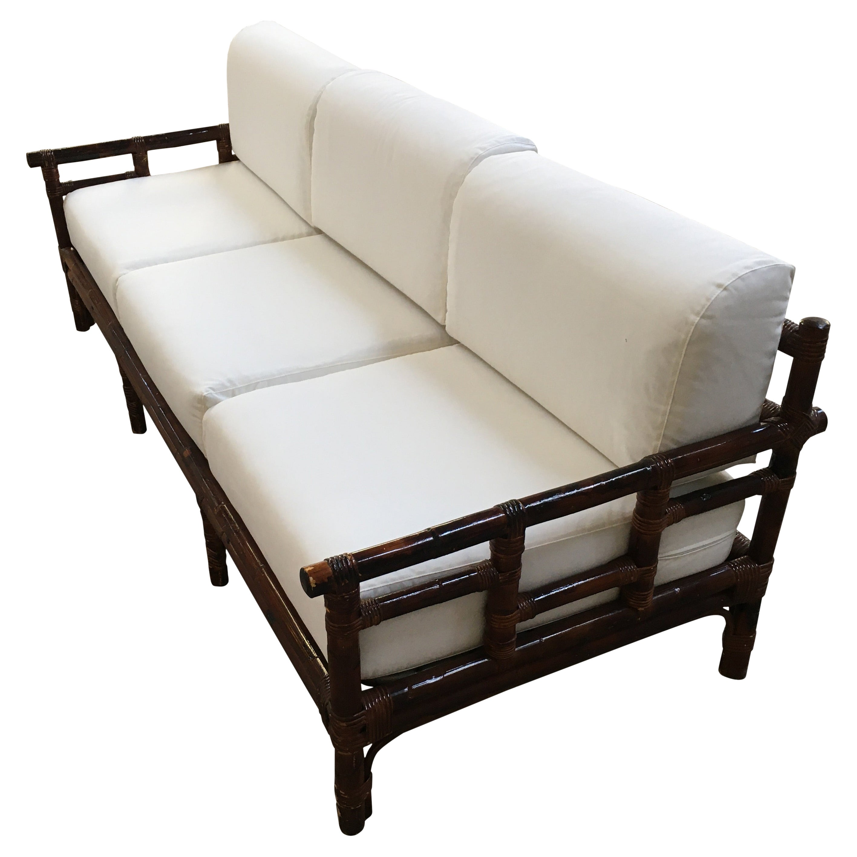 Mid-Century Modern Italian Three-Seat Bamboo Sofa with Cushions, 1970s
