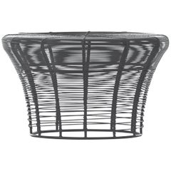 GAN Rugs Aram Low Stool with Stainless Steel Wire in Anthracite by Nendo