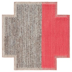 GAN Mangas Space Small Square Rug Plait in Coral by Patricia Urquiola
