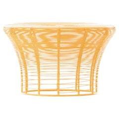 GAN Rugs Aram Low Stool with Stainless Steel Wire in Mustard by Nendo